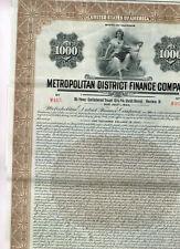 Metropolitan District Finance Co., 1929, $1000 Gold Bond, uncancelled/ coupons,