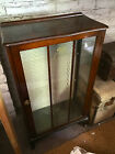 Antique Glass Display Cabinet Wooden Storage English Style Home Decor Furniture
