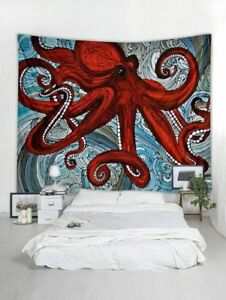 Octopus Tapestry Undersea Creature Wall Hanging Mandala Bedspread Room Decor