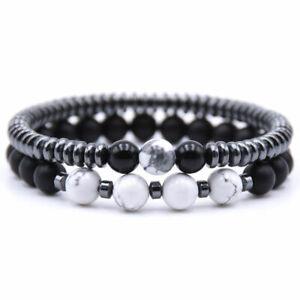 2Pcs/Lot Women/Men Lava Rock Chakra Beads 6mm Natural Stone Bracelets Xmas Gift