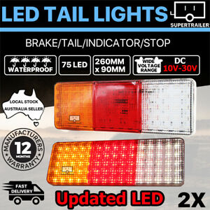2X 75 LED Tail Lights Trailer Ute Caravan Truck Stop Indicator rear LAMP 10-30V