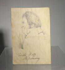 Antique Pencil Ink Drawing Portrait Jewish Israel Missionary Rev. Joseph Wolff