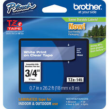 "Brother TZ145 TZe145 3/4"" inch 18mm white on clear TZ tape PT1830 PT1880 P-Touch"