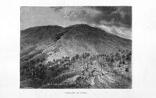 Stampa antica montagna vulcano ETNA crepacci Catania 1877 Old print