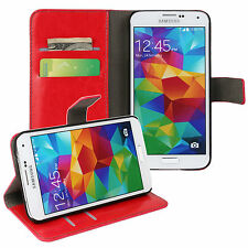 Red Genuine Leather Card Money Wallet Phone Case Cover for Samsung Galaxy S5