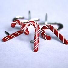 Brads - Bulk - Candy cane christmas xmas - pk of 15 - scrapbooking