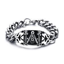 21cm Masonic Steel Bracelet Men's Stainless Steel Punk Vintage Goth Chain Bangle