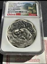2017 China 62g Antiqued silver Zhan-Yuan Panda Garden PF 70+COA RARE Mintage:59!