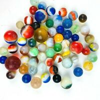 Assorted Marbles Vintage Lot of 60 Plus in Various Colors and Sizes Man Cave