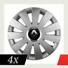 """Spiel 4 radkappe 15"""" 15-zoll Renault Silber + Embleme Schönes Design BEA"""