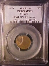 1976 MEXICO 5C - STRUCK 70% OFF CENTER! -PCGS MS63! GREAT ERROR COIN!-AA487QCXX