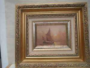 Fabulous small nautical seascape painting by L ALEXIS with gold gilt wood frame
