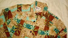 Maggie Sweet Women's M Beige Teal Leopard Floral Long Sleeve Top Blouse medium