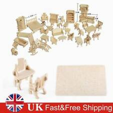 34Pcs Vintage Wooden Furniture Dolls House Miniature Toys For Kids Fun Gifts New