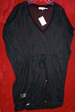 Calvin Klein Black See Thru Fabric Swimsuit Cover Up Dress Sz L/X 12,14