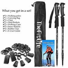 TheFitLife Nordic Walking Trekking Poles - 2 Packs With Antishock And Quick Lock