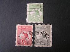 *Australia, Scott # 1-3(3), 1/2p+1p+2p. Values 1913 Kangarro/Map Issue Used