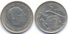 ESPAÑA: 5 PESETAS FRANCISCO FRANCO. AÑO 1957 *19-62*. BC+. CADA VEZ MAS ESCASA.