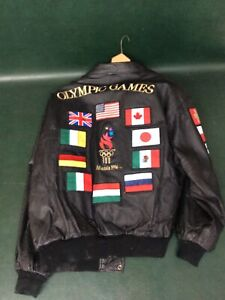 1996 Atlanta Olympics American Toons Black Leather Jacket Size XL ~For Cleaning