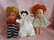 "3 Vintage small dolls Uneeda and friends 4.5-5"" Hong Kong made cheap PeeWee baby"