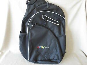 "New Ebayana Ebay Social Logo Crossbody Shoulder Sling Backpack Black 19""h"