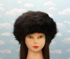 004b4fa93a8 Black Faux Fur Women's Pillbox Hat Russian Winter Soft Furry Cossack Snow  Ski