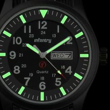 INFANTRY Mens Quartz Wrist Watch Date Day Lume Military Army Black Nylon Sport