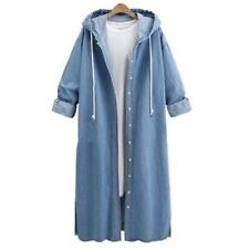 Womens Hooded Blue Denim Trench Coat Ladies Loose Jeans Outerwear Long Jacket
