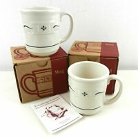 LONGABERGER WOVEN TRADITIONS HERITAGE COFFEE MUG CUPS GREEN LOT 2 BOX 30546 NEW