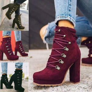 Women Sexy Casual Rivets Shoes Platform Block Heel Ankle Short Tube Winter Boots