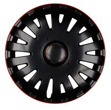 4x Premium Diseño Tapacubos Rueda 16 Pulgadas #79 Negro/Anillo Rojo