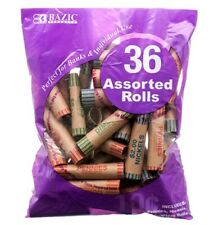 36 Preformed Assorted(Pennies, Nickels, Dimes, Quarters)Bag Coin Wrappers Rolls