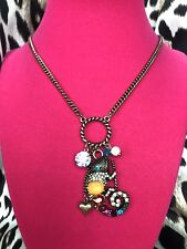 Betsey Johnson Caribbean Queen Crystal Chameleon Reptile Charm Necklace RARE