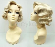 Blonde Finger Waves Wig Costume Short Retro 1920s Gatsby Flapper Vintage