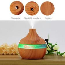 300ml USB LED Aromatherapy Humidifier Purifier Wood Grain Oil Diffuser Essential