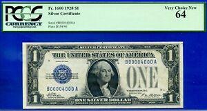 1928 $1 S/C  (( 00004000 )) PCGS Choice-New 64 - Single Digit Fancy Serial # -