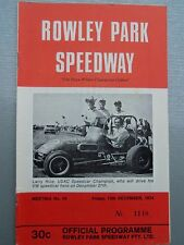 FRIDAY 13TH DECEMBER 1974 SPEEDWAY OFFICIAL PROGRAM ROWLEY PARK MEETING NO. 10