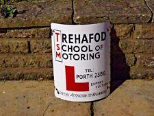 "1950s Original Rare HEAVY ENAMEL ""TREHAFOD SCHOOL OF MOTORING"" ""L"" SIGN   PORTH"