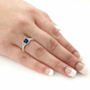 2Ct Cushion Cut Blue Sapphire Diamond Split Band Halo Ring 14ct White Gold Over