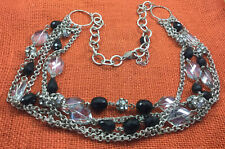 Vintage Necklace White House/Black market Glass Faceted Black Smoke Multi Chain