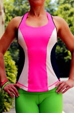 lululemon Cardio Kick Tank Top 4 Racerback Color Block Pink w/ Cups Pinkelicious