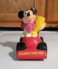 Vintage 1970s Mickey Mouse Coin Bank - Mickey Special Race Car