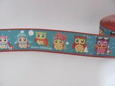 Christmas Owls 1 inch Grosgrain Ribbon Teal