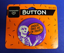 BUY1&GET1@50%~Hallmark PIN Halloween BUTTON-MOC SKELETON Under Taker ME Vtg