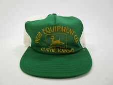 Vintage Green John Deere Olathe Kansas Webb Equipment trucker Cap Hat Snap Back