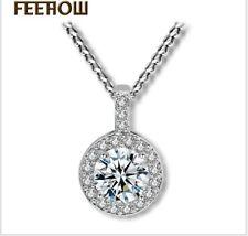 "White Gold Round Cubic Zirconia CZ Pendant Necklace 18"" Chain Gift Box PE19"