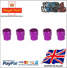 5 x PURPLE Aluminium Alloy Tyre Valve Dust Caps 4 +1 Car Bike Bicycle Van