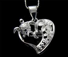 STERLING SILVER 925 HAWAIIAN CZ PLUMERIA FLOWER SEA TURTLE HONU HEART PENDANT