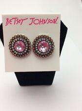 $30 Betsey Johnson Crystal Gem Button Earring. BT-39