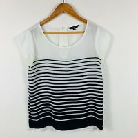 Portmans Womens Top Size 8 Black White Stripe Short Sleeve Lovely Top